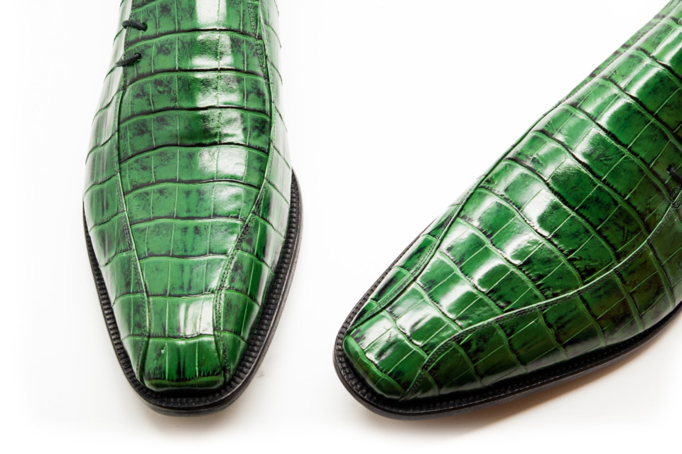 Håndforarbejdet Herresko i Ægte Krokodilleskind  |  Grøn