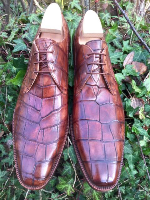 Ægte Alligator Herresko i Patineret Cognac